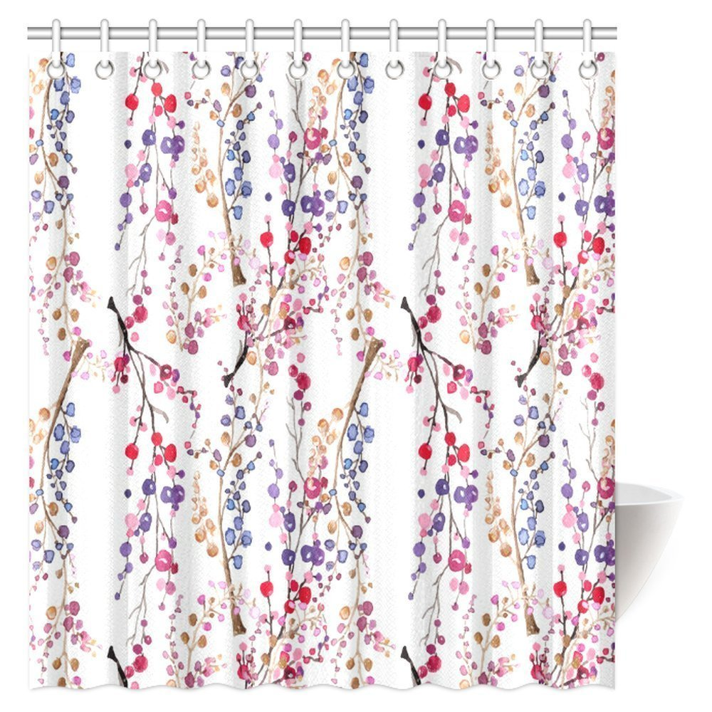 POP Watercolor Flower Home Decor Shower Curtain, Modern Design Watercolor  Decor with Floral Leaves Bathroom Decor Set 12x12 inch