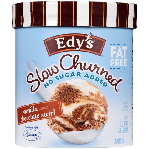 Edy's/Dreyer's Fat Free No Sugar Added Vanilla Chocolate Swirl Ice Cream, 1.5 qt