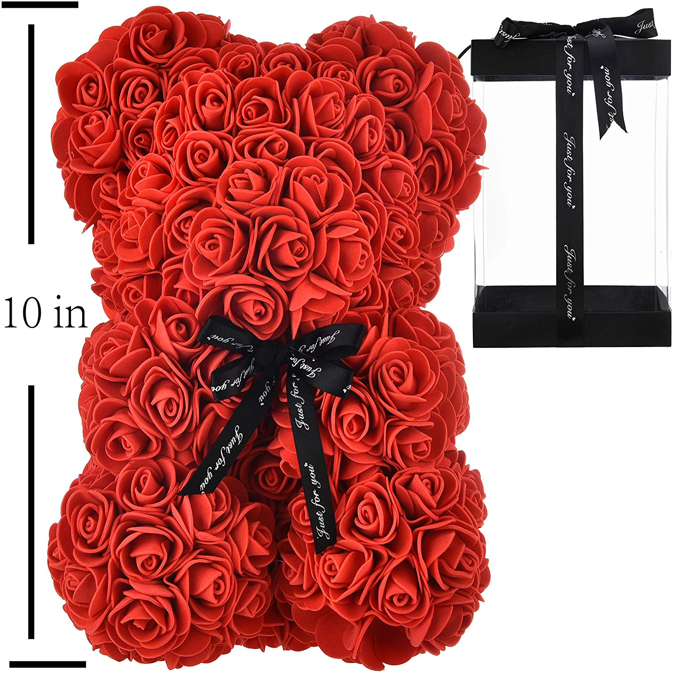 Girlfriend Wife Gift 25cm Rose Flower Teddy Bears Wedding Day Floral Decor Kids