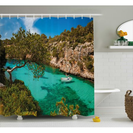 Nature Shower Curtain  Small Yacht Floating In Sea Majorca Spain Rocky Hills Forest Trees Scenic View  Fabric Bathroom Set With Hooks  69W X 75L Inches Long  Green Aqua Blue  By Ambesonne