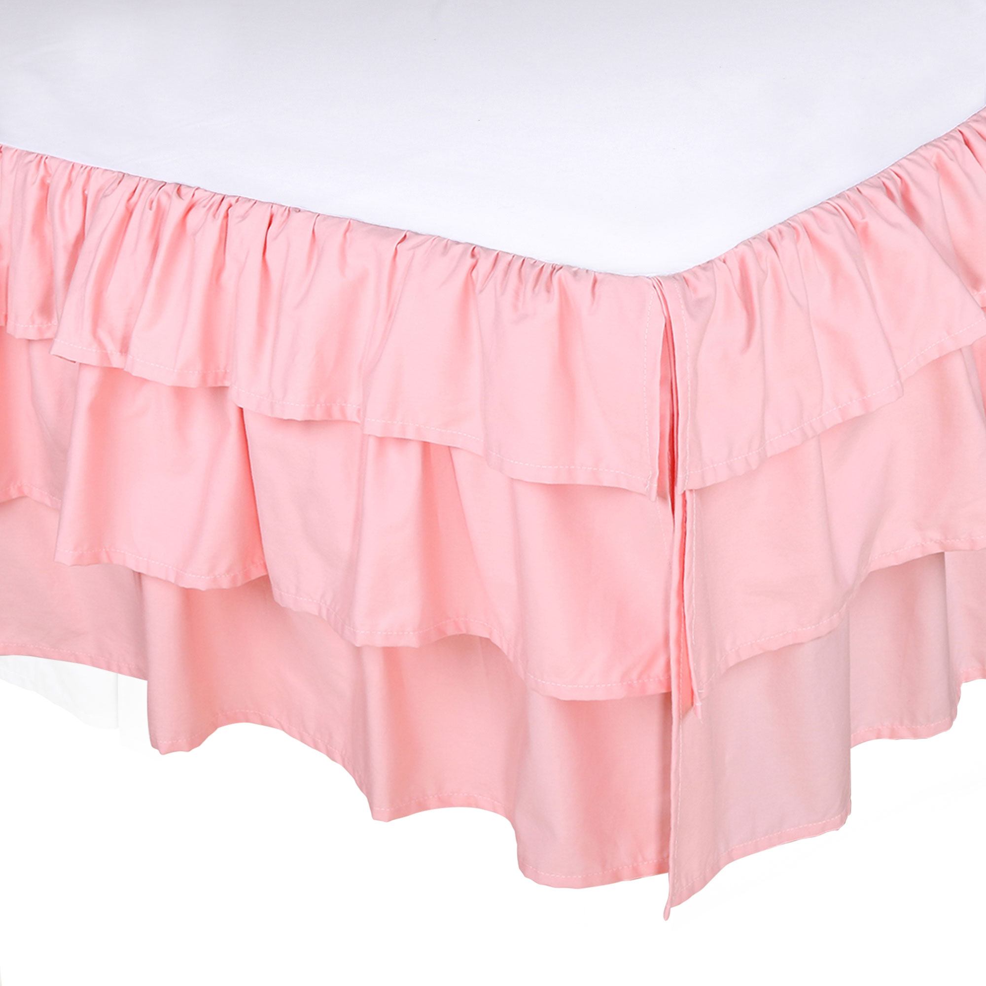 Coral Pink Three Layered Crib Dust Ruffle by The Peanut Shell