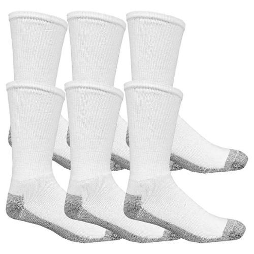 FRUIT OF THE LOOM K9021W6US-12-SP Crew Sock, Mens, 12-16, White, PK6