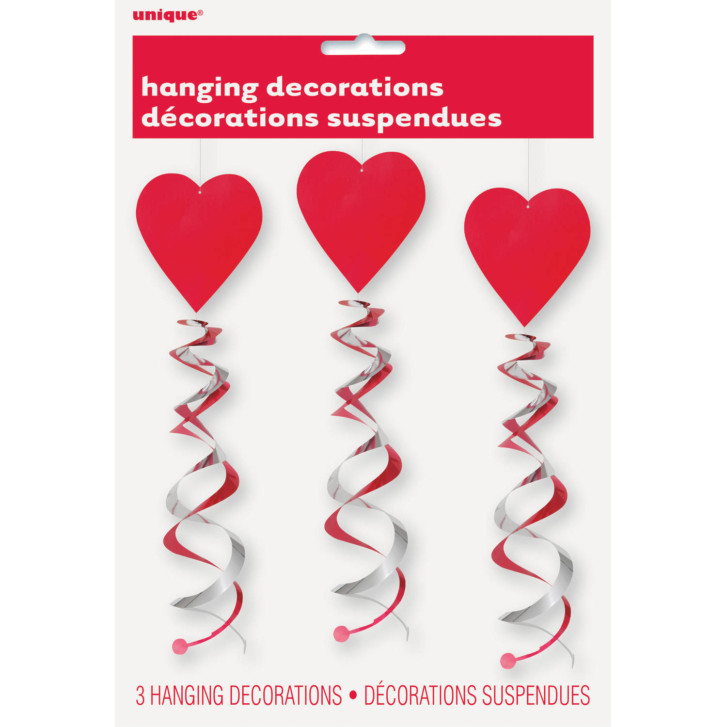 "26"" Hanging Double Swirl Heart Decorations, 3pk"