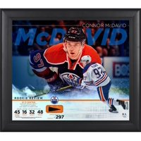 """Connor McDavid Edmonton Oilers Framed 15"""" x 17"""" Rookie Review Collage with Piece of Game-Used Puck - Limited Edition of 297"""