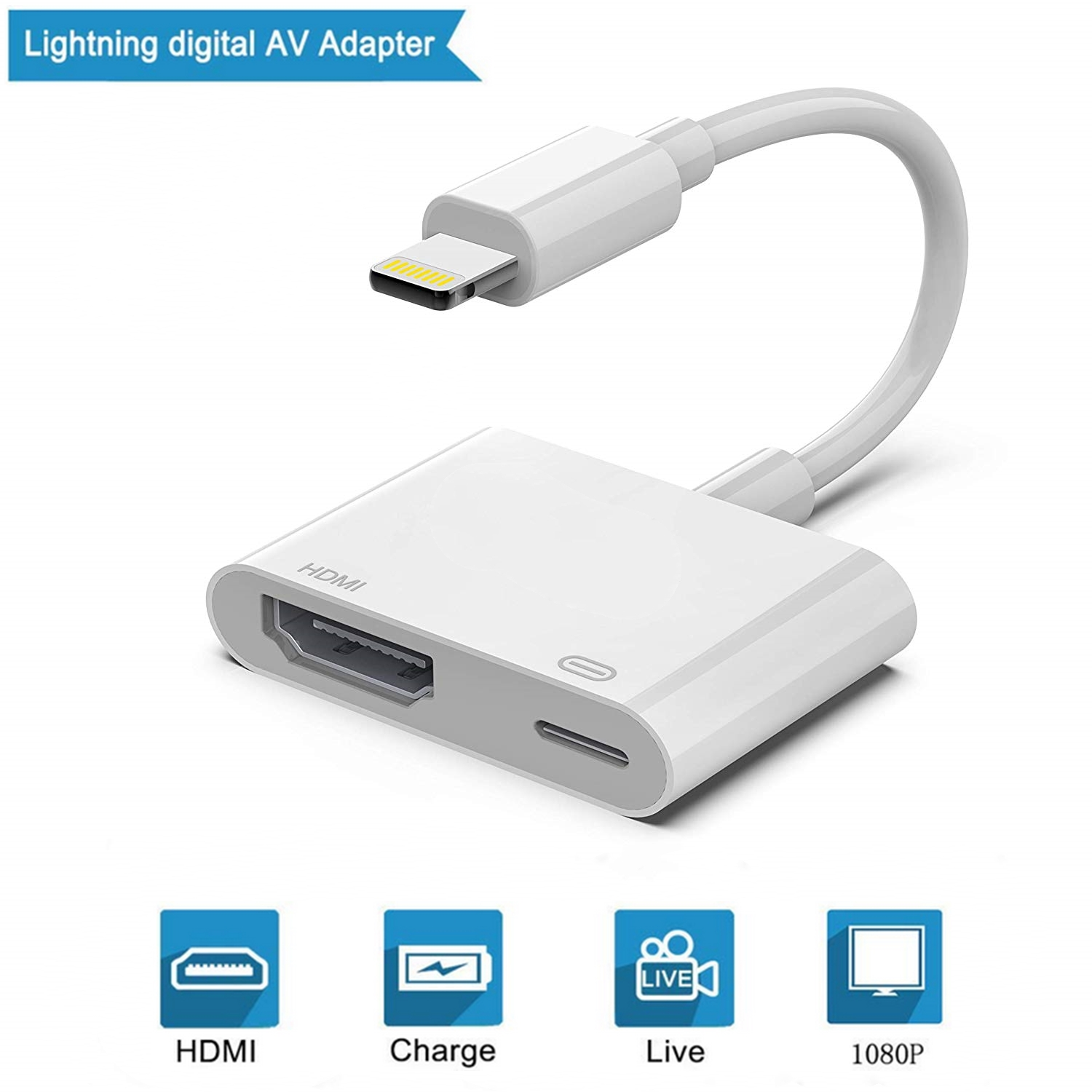Lightning to HDMI iPad on HDTV//Monitor//Projector Apple MFi Certified Must be Powered Plug and Play 1080P HDMI Sync Screen Digital Audio AV with Charging Port for iPhone 11//11 Pro//XS//XR//X//8 7