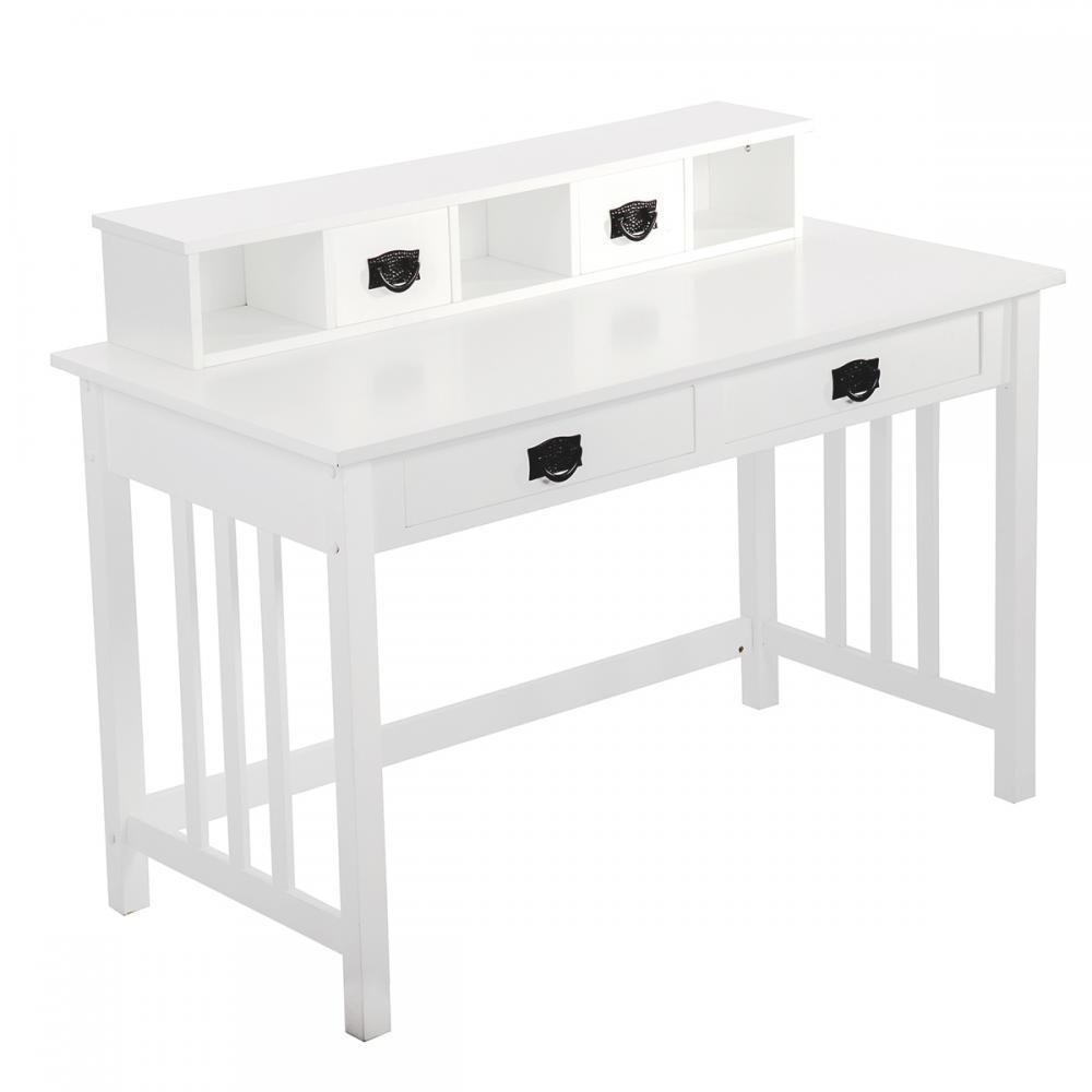 White writing contemporary desk home office furniture wood drawers storage 29 walmart com