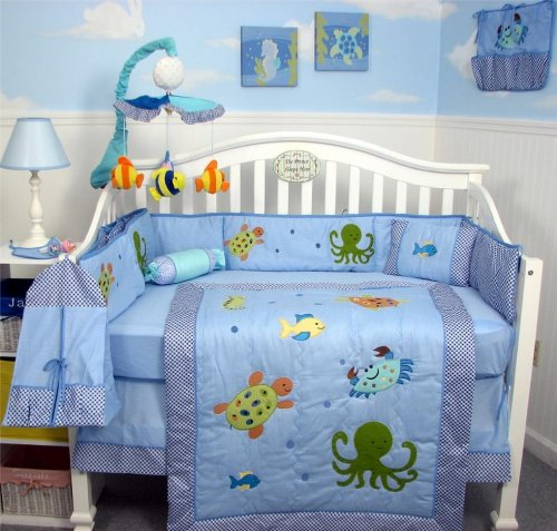 SoHo Sea Life Baby Crib Nursery Bedding Set 13 pcs included Diaper Bag with Changing Pad & Bottle Case