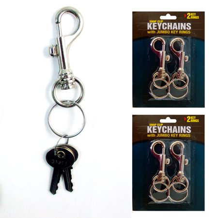 Clip Keychain (Lot Of 4 Jumbo Snap Clip Keychains Rings Swivel Trigger Round Eye Lobster)