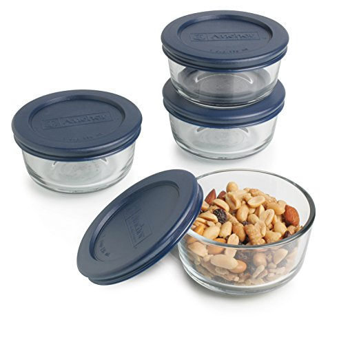 Superbe Anchor Hocking 1 Cup Round Food Storage Containers With Blue Plastic Lids,  4 Piece