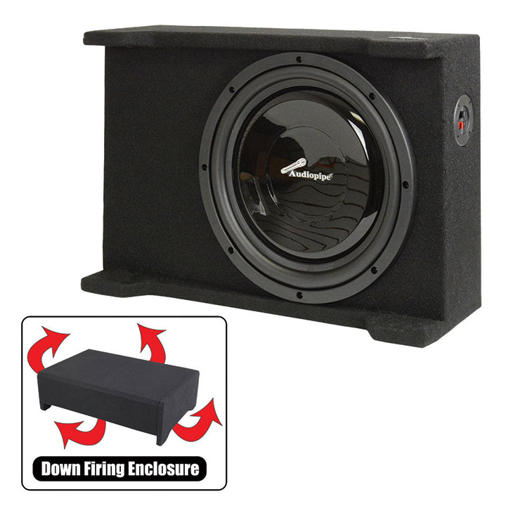 """Audiopipe Single 12"""" Shallow Downfire Sealed Enclosure with sub"""