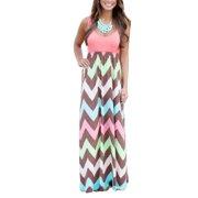 Plus Size Women Sleeveless Long Maxi Dress Ladies Casual Stripes Sun Dress V Neck Loose Boho Dresses #WAD