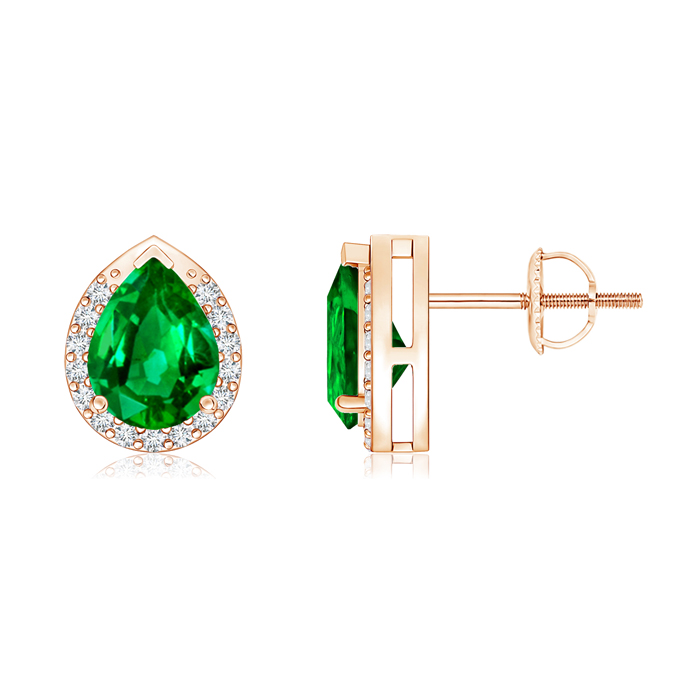 Angara Natural Emerald Studs in Rose Gold N4z1GcnY