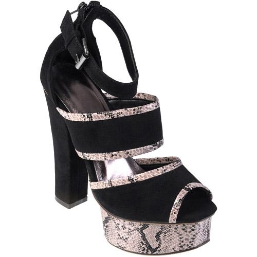 Brinley Co Womens Peep Toe Snake Print Platform Heel