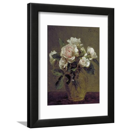 White Roses in a Glass Vase, 1875 Flower Still Life Painting Framed Print Wall Art By Henri Fantin-Latour