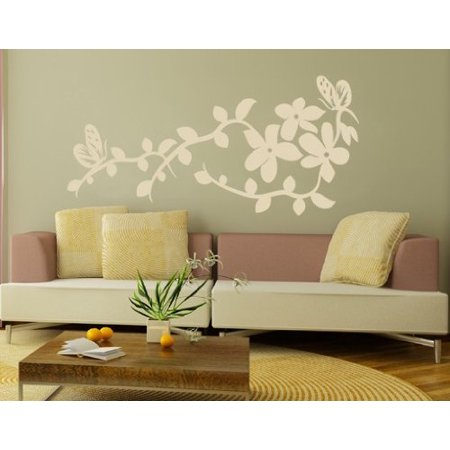 China Flower Wall Decal - Wall Sticker, Vinyl Wall Art, Home Decor, Wall Mural - 1722 - 12in x 6in, White