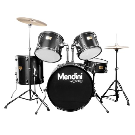 Mendini by Cecilio Complete Full Size 5-Piece Adult Drum Set w/ Cymbals Pedal Throne Sticks, Metallic Black MDS80-BK (Full Wheel Drum)