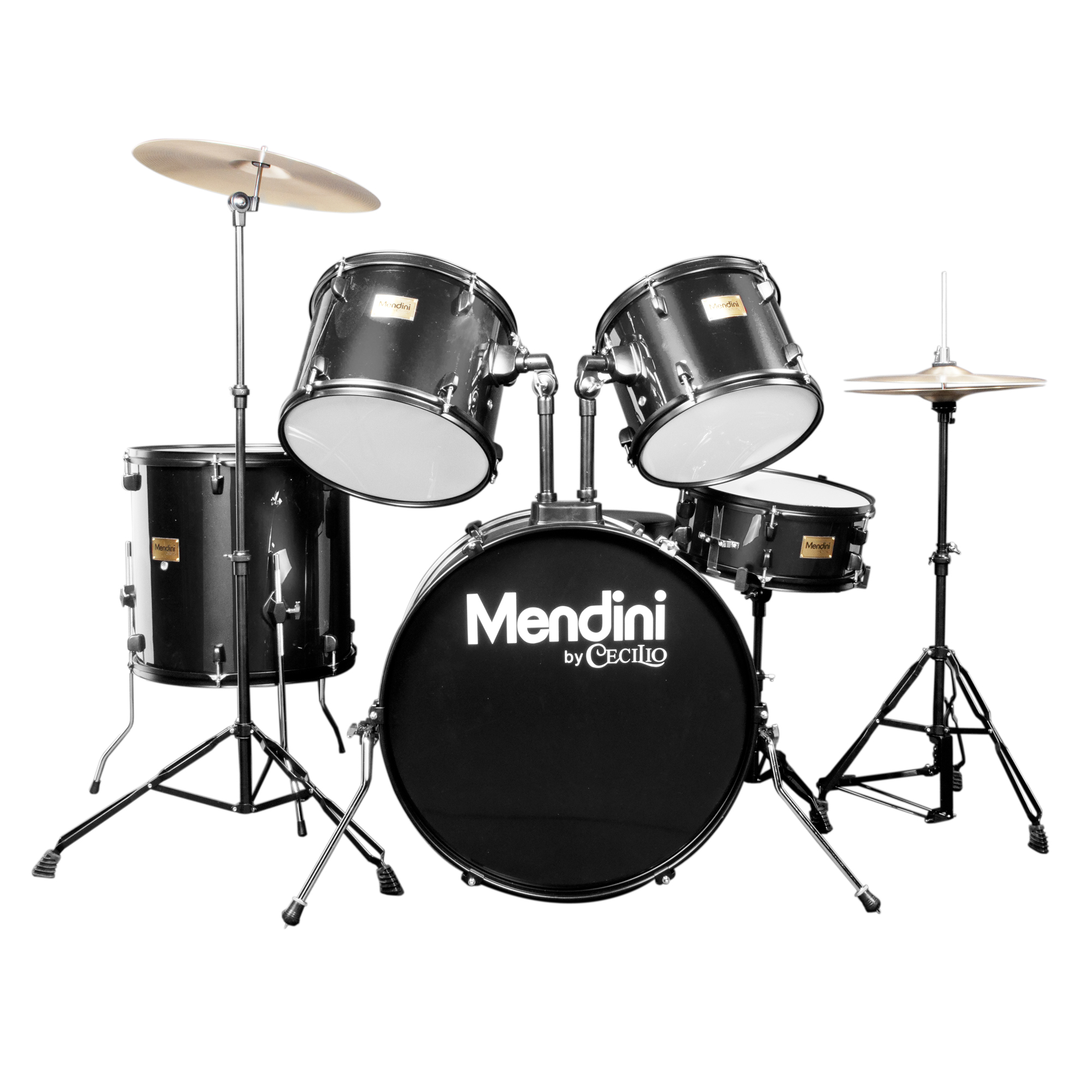 Mendini by Cecilio Complete Full Size 5-Piece Adult Drum Set w/ Cymbals Pedal Throne Sticks, Metallic Black MDS80-BK