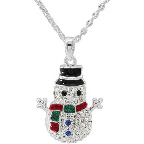 """Crystal Silver-Plated Snowman Pendant, 18"""" Chain"""