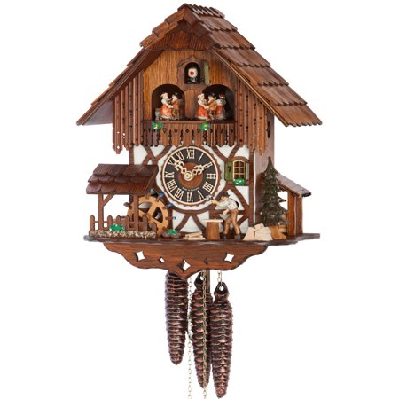 Cuckoo Clock 1 Day Chalet - 1 Day Musical Black Forest Chalet Cuckoo Clock with Wood Chopper By Hönes