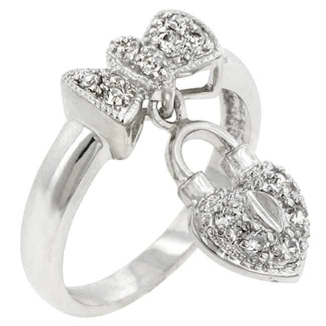 Sunrise Wholesale J2814 White Gold Rhodium Bonded Heart Locked Ribbon Ring - Size 09