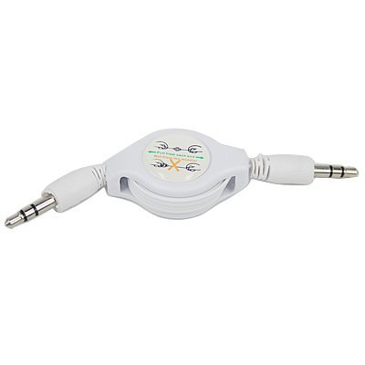 3 Feet Retractable Mini 3.5mm Plug Male to Male Stereo Auxiliary Aux Cord Cable For Samsung Focus i917 - White