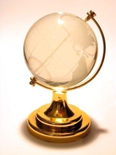 """2.5"""" New Crystal Glass Miniature World Globe Ornament / Gift by HomeOffice"""