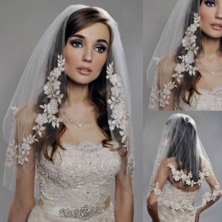 LuckyFine Two Layer Lace Wedding Bridal Veil With Comb, Elbow Veils Lace Applique Edge