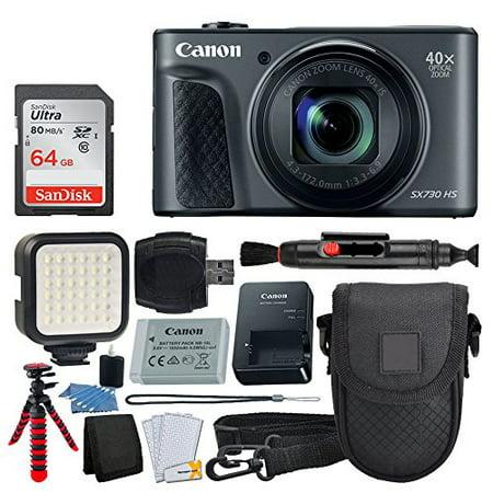 - Canon PowerShot SX730 HS Digital Camera (Black) + 64GB Memory Card + Point & Shoot Case + Flexible Tripod + LED Video Light + USB Card Reader + Lens Cleaning Pen + Cleaning Kit + Full Accessory Bundle