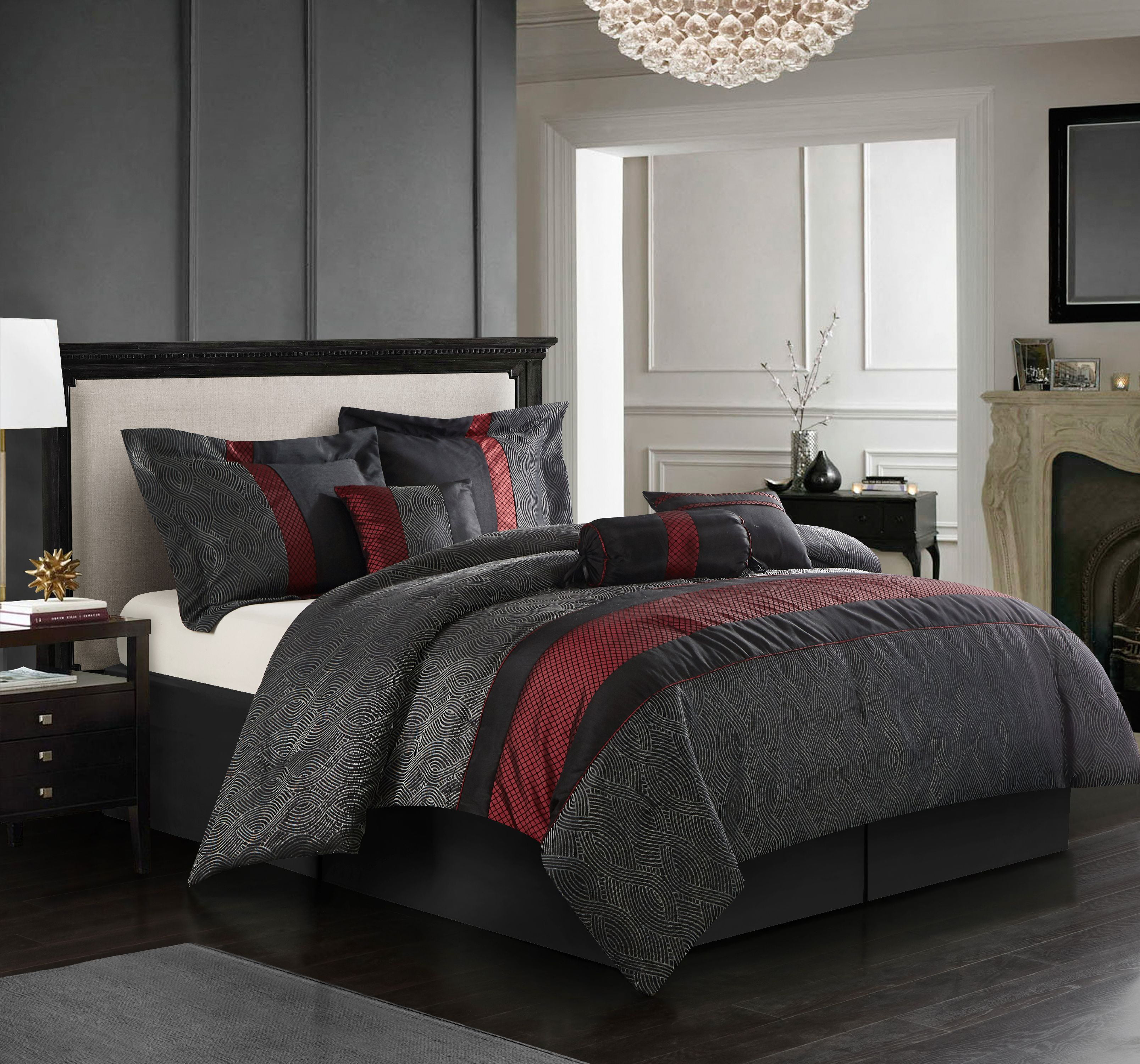 7 Piece Black Feathered Modern-Style Comforter Set and// or Matching Curtain Set