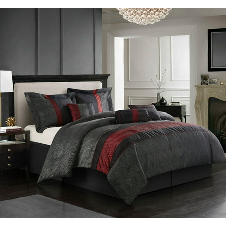 Corell 7-Piece Bedding Comforter Set, Red, Full ()