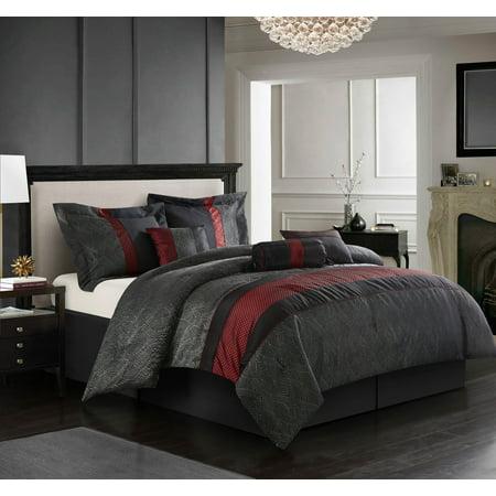 Corell 7 Piece Bedding Comforter Set Red Full Walmart Com