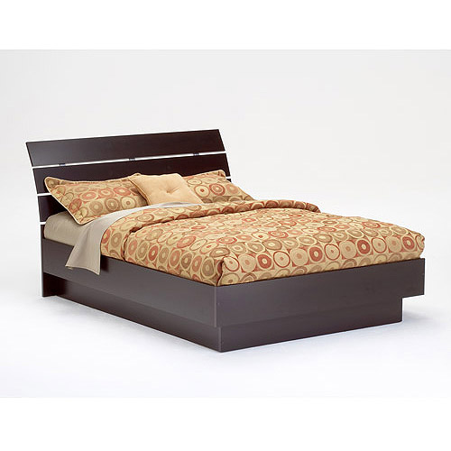 Laguna Queen Platform Bed With Headboard, Lacquered Espresso