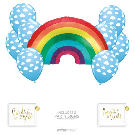 Andaz Press Rainbow Cloud Party Balloon Bouquet Set, Rainbow Baby Shower Party Supplies, Inflatable Foil Mylar - Baby Shower Balloon Bouquets