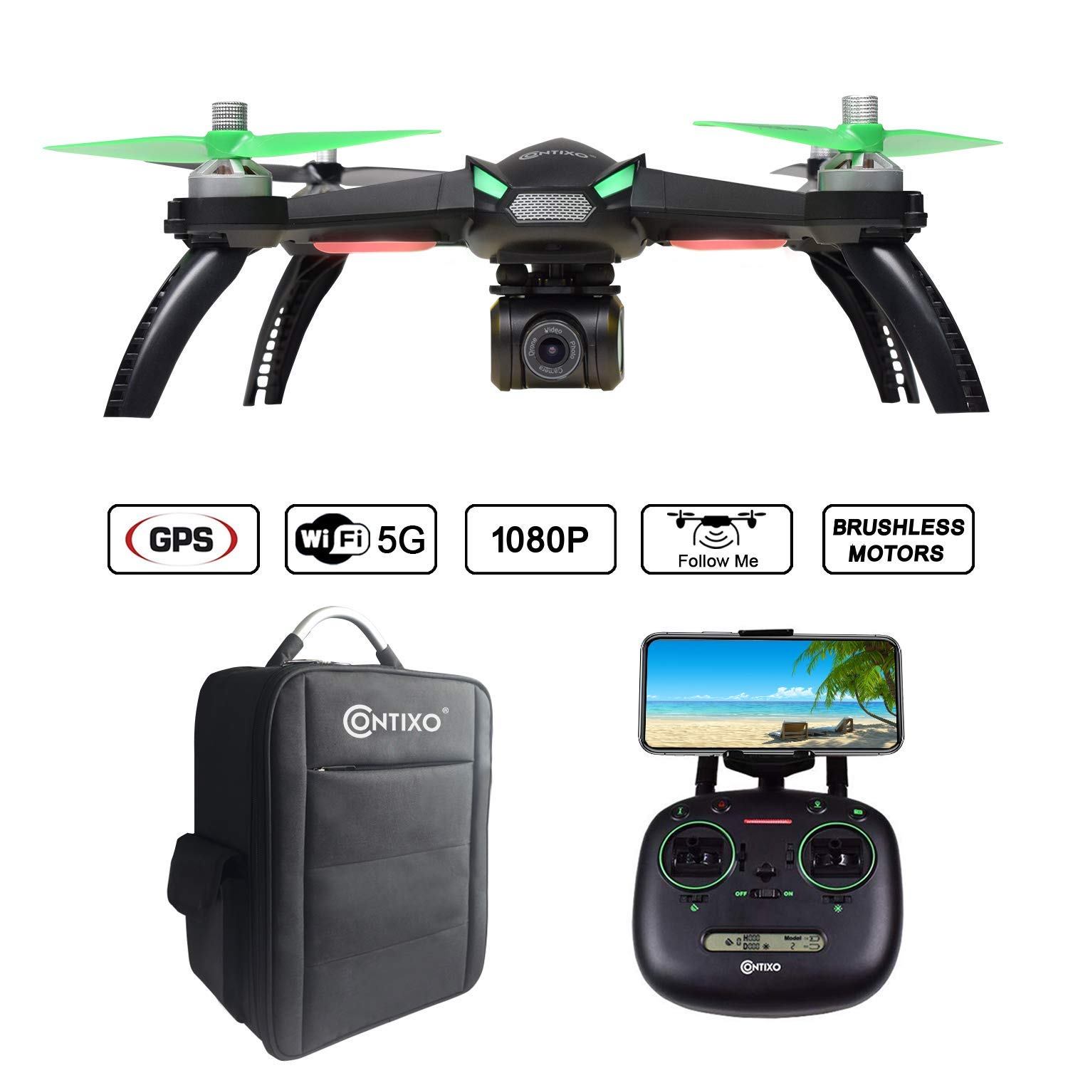 Contixo F20 RC Remote App Controlled Quadcopter Drone | 1080p HD WiFi Camera, Follow Me, Auto Hover, Altitude Hold, GPS, 1-Key Takeoff/Landing, Auto Return Includes Custom Storage Carrying Backpack