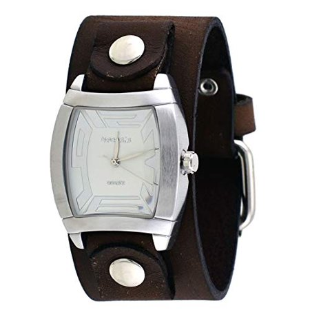 - BFGB067S Women's Rugged Collection Brown Wide Leather Cuff Band Watch