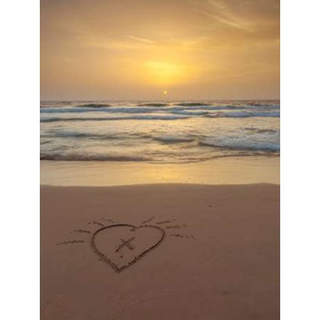 Sand writing - Heart shape drawn on the beach Poster Print by  Assaf Frank