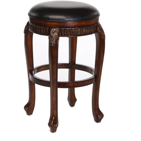 Fleur De Lis Backless Swivel Counter Stool Distressed