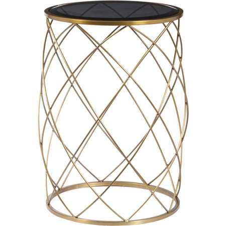 Wondrous Convex Round Brass Metal Accent Table With Smoked Glass Top Home Interior And Landscaping Eliaenasavecom