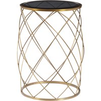 Convex Round Brass Metal Accent Table with Smoked Glass Top