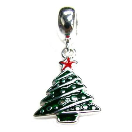 Queenberry Sterling Silver Christmas Tree Enamel European Style Dangle Bead Charm Fits Pandora