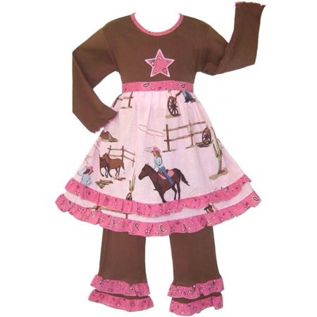 Annloren Girls Pink Boutique Cowgirl Horses Dress Pants Outfit 7-10