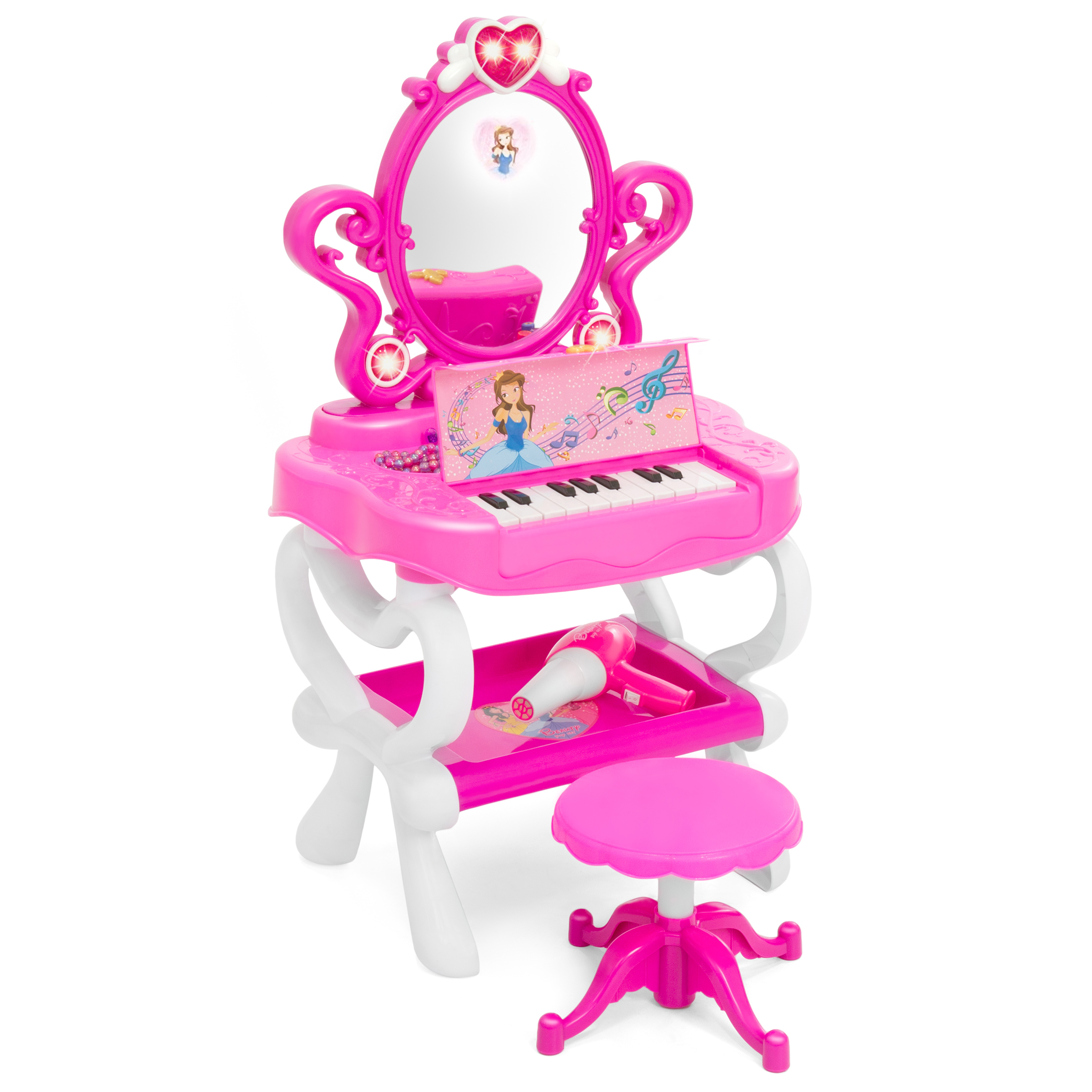 Best Choice Products Toy Vanity Set w/16 Beauty Accessories, Functional Piano Keyboard & Flashing Lights