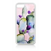 Watercolor Floral Cactus Plant Cactii White Rubber Case for the Apple iPhone 6 Plus / iPhone 6s Plus - Apple iPhone 6 Plus Accessories -iPhone 6s Plus Accessories