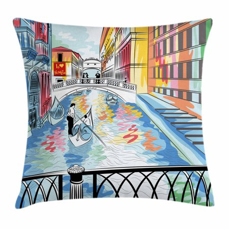 Venice Throw Pillow Cushion Cover, Colorful Sketch of a Landscape the Bridge of Sighs in Venice Artistic Romantic Scene, Decorative Square Accent Pillow Case, 16 X 16 Inches, Multicolor, by Ambesonne (Romantic Scent)