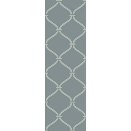 - 2.5' x 8' Egyptian Windows Slate Gray and Ivory White Area Throw Rug Runner