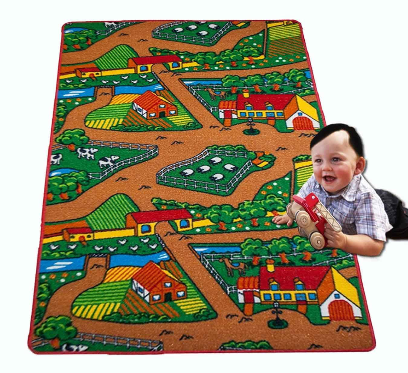 Non Skid Gel Backing Mybecca Kids Rug Basketball Ground 5 x 7 Children Area Rug for Playroom /& Nursery 59 x 82