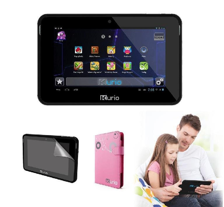 "KURIO 7S Kids 7"" Tablet (Black) with Case (Pink) & Screen Protector BUNDLE OFFER- Refurbished"