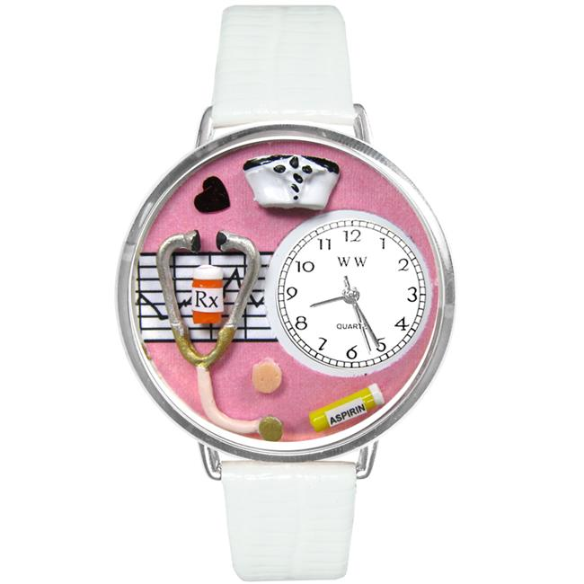 Whimsical Gifts U-0620047 Nurse Pink Watch In Silver Large