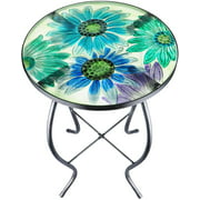 Outdoor Patio Side Table Bistro Coffee Table Plant End Table Small Porch Table Glass Balcony Flower Plant Table Stands