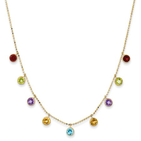 Gold Multi Color Gems (Roy Rose Jewelry 14K Yellow Gold Multi-color Gemstone Necklace w/ 2in ext. ~ length: 16 inches)